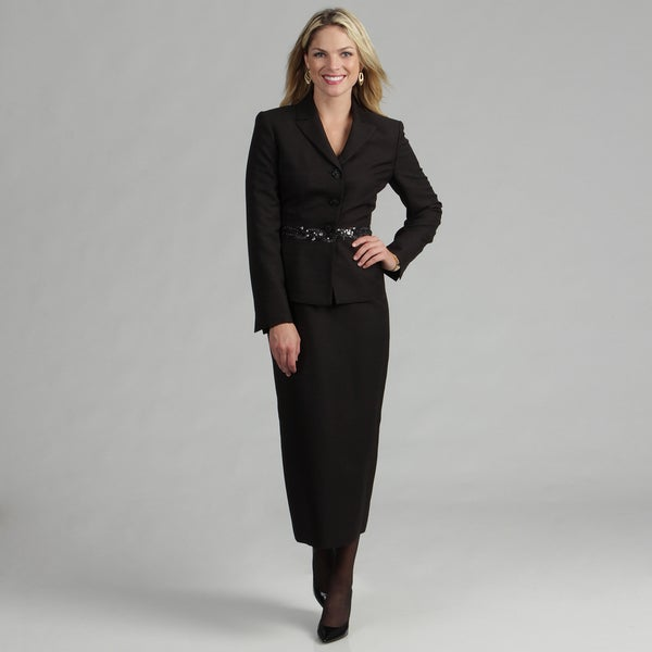 Le Suit Women's Black 3-button Skirt Suit - Free Shipping Today ...