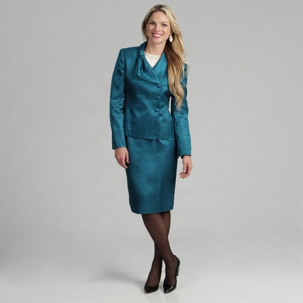 Le Suit Women's Atlantic Jacquard Skirt Suit