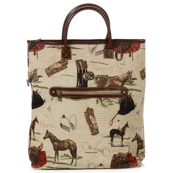 Oleg Cassini Pony Up Tapestry Tote Bag