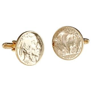 American Coin Treasures Gold-Plated Buffalo Nickel Cufflinks