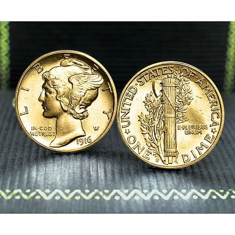 American Coin Treasures Gold-Plated Mercury Dime Cufflinks