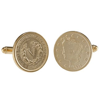 American Coin Treasures Gold-Plated Liberty Nickel Cufflinks