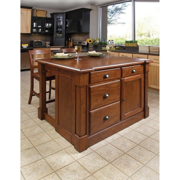 Home Styles Aspen Rustic Cherry Kitchen Island and Two Bar Stools
