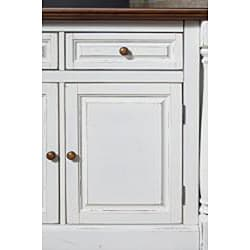 Gracewood Hollow Ellison Antiqued White Kitchen Island with Granite Top and 2 Stools - Thumbnail 1