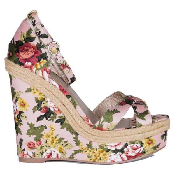 Qupid 'Katrina-27' Floral Wedge Open-toe Platform Sandals