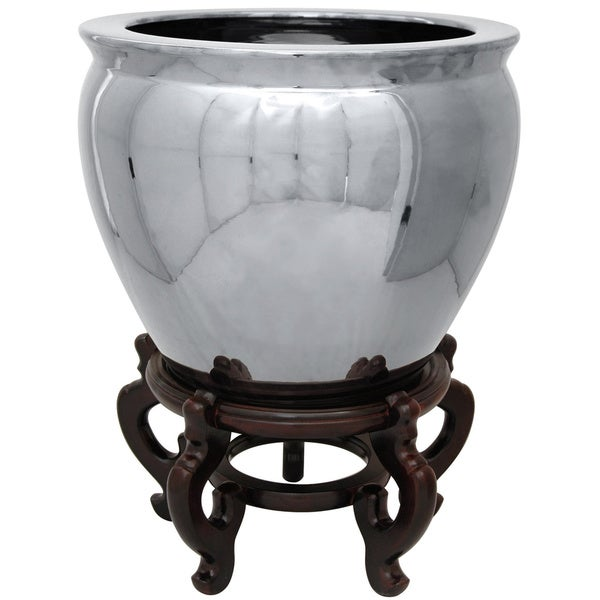 Handmade Porcelain 16-inch Pure Silver Oriental Fishbowl Accent Piece (China)