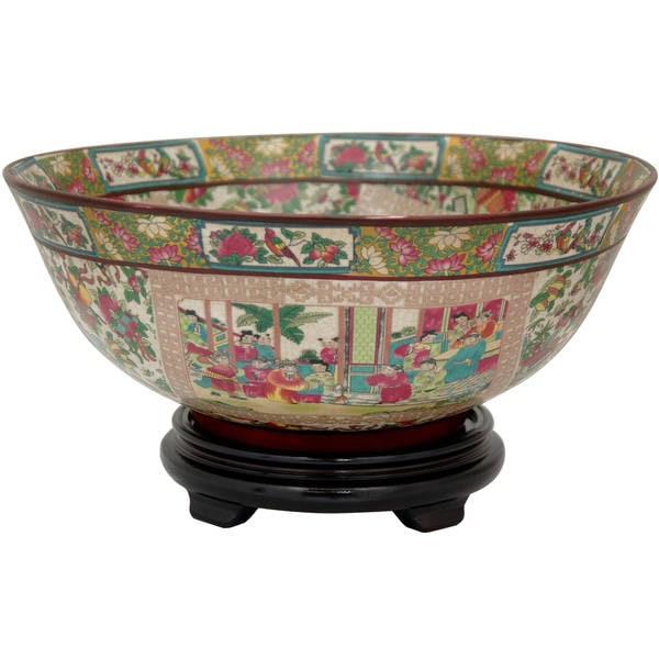 Porcelain 14-inch Rose Medallion Bowl (China)