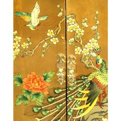 Handmade Gold Leaf Birds and Flowers Shoe Cabinet (China)