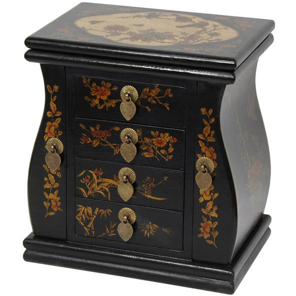 shop handmade black lacquer standing mirror jewelry box china free shipping today. Black Bedroom Furniture Sets. Home Design Ideas
