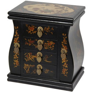Handmade Black Lacquer Standing Mirror Jewelry Box (China)