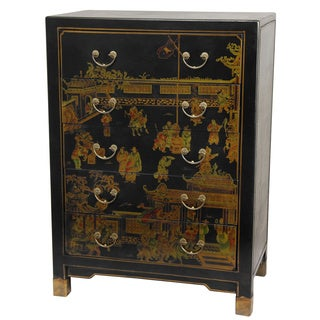 Handmade Black Lacquer Village Life Five Drawer Chest (China)
