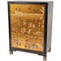 Handmade Gold Leaf Village Life Five Drawer Chest (China)