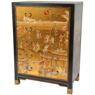 Handmade Gold Leaf Village Life Five Drawer Chest (China)