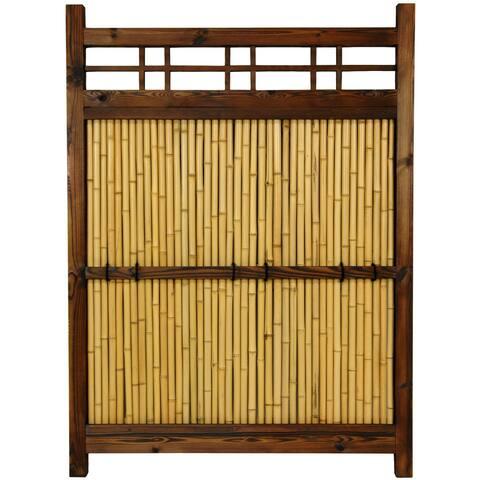 "Handmade Japanese Bamboo 4x3' Kumo Fence - 34.5""W x 1.75""D x 47.25""H"
