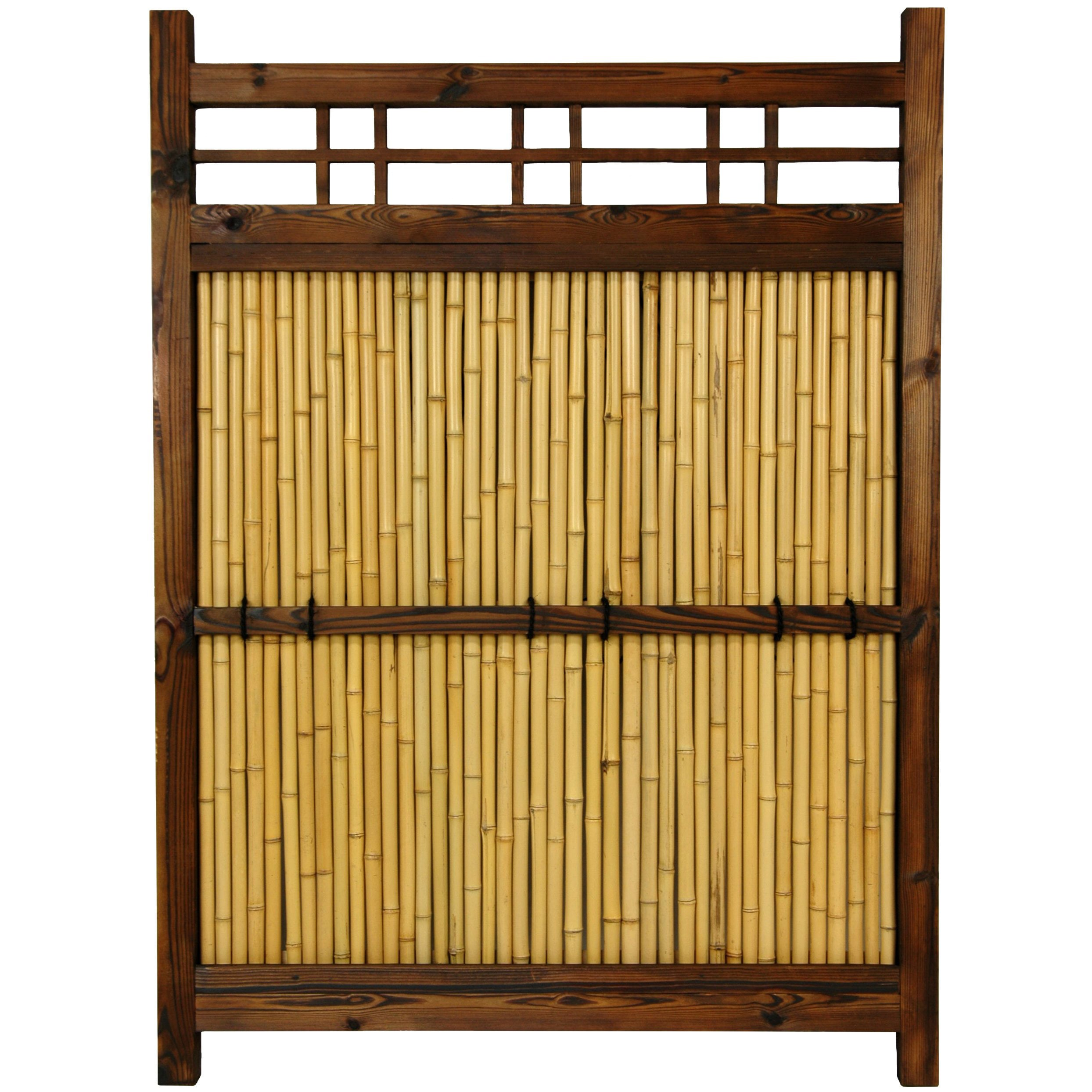 Handmade Japanese Bamboo 4x3-foot Kumo Fence (China), Bro...