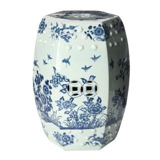 Handmade Tree Motif Ceramic Garden Stool (China)