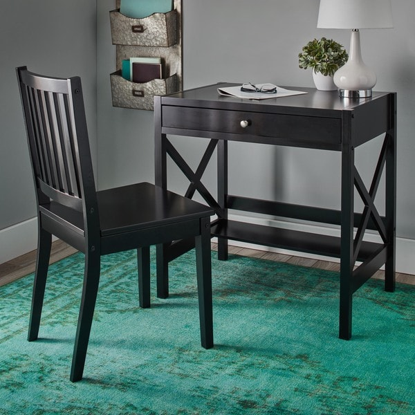 Simple Living Black X Design Writing Desk Free Shipping