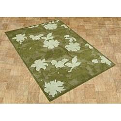Alliyah Handmade Garden Green New Zealand Blend Wool Rug (5' x 8')