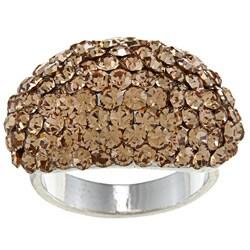 City by City High-polish Silvertone Brass Pave-Set Brown Crystal Fashion Ring