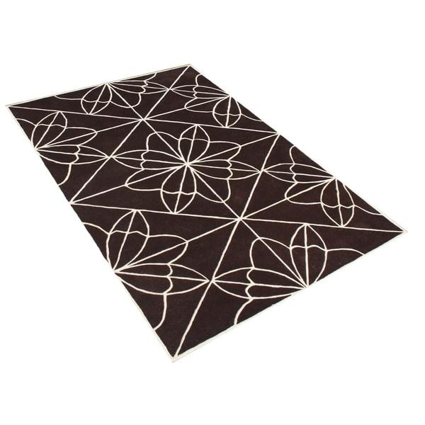 Alliyah Handmade Chocolate Brown New Zealand Blend Wool Rug (8' x 10') - 8' x 10'