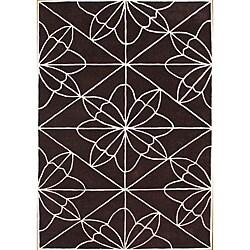 Alliyah Handmade Chocolate Brown New Zealand Blend Wool Rug (5' x 8')