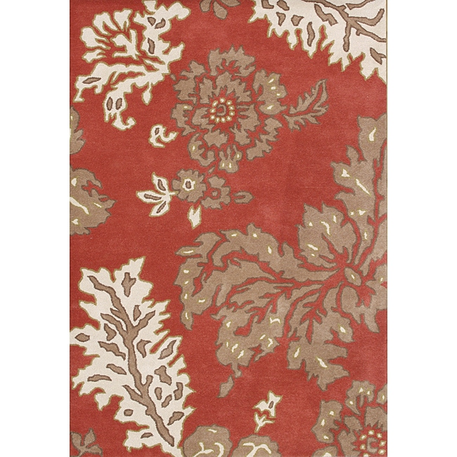 Alliyah Handmade Poppy Red New Zealand Blend Wool Rug 5