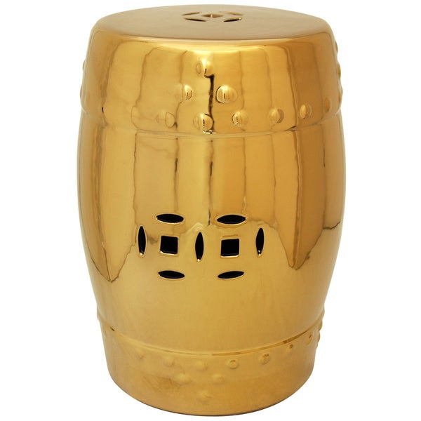 Lacquered Porcelain 18-inch Solid Gold Garden Stool (China)