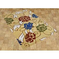 Alliyah Handmade Honey Gold New Zealand Blend Wool Rug (5' x 8')