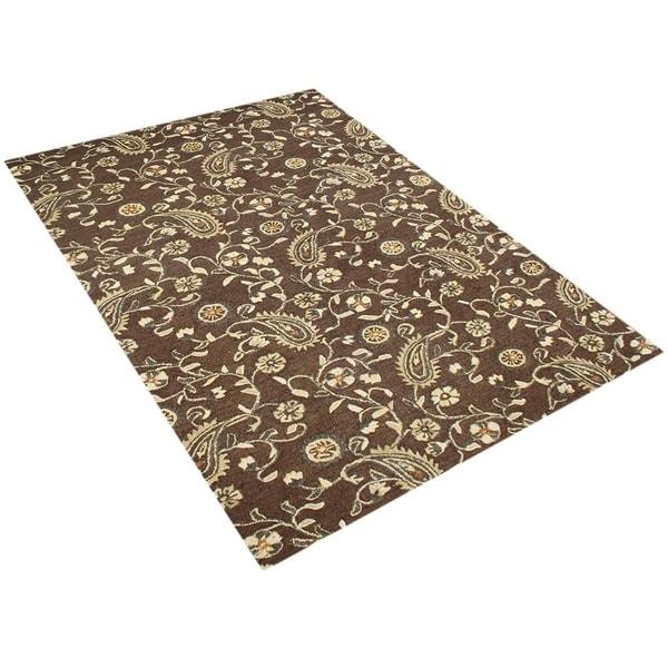 Alliyah Handmade Tobacco Brown New Zealand Blend Wool Rug - 5' x 8'