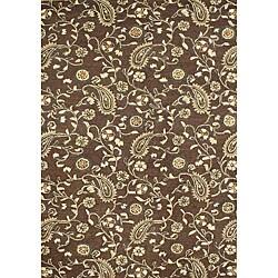Alliyah Handmade Tobacco Brown New Zealand Blend Wool Rug (5' x 8') - Thumbnail 0