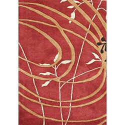 Alliyah Handmade Poppy Red Black, Beige, Forest Green, and Honey Yellow New Zealand Blend Wool Rug (5' x 8') - Thumbnail 1