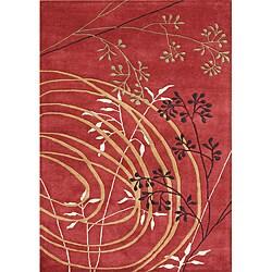 Alliyah Handmade Poppy Red Black, Beige, Forest Green, and Honey Yellow New Zealand Blend Wool Rug (5' x 8')