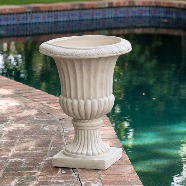 Antique White Italian 26-inch Urn Planter by Christopher Knight Home
