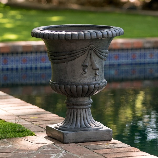 Antique Grey Zeus 20 Inch Urn Planter By Christopher