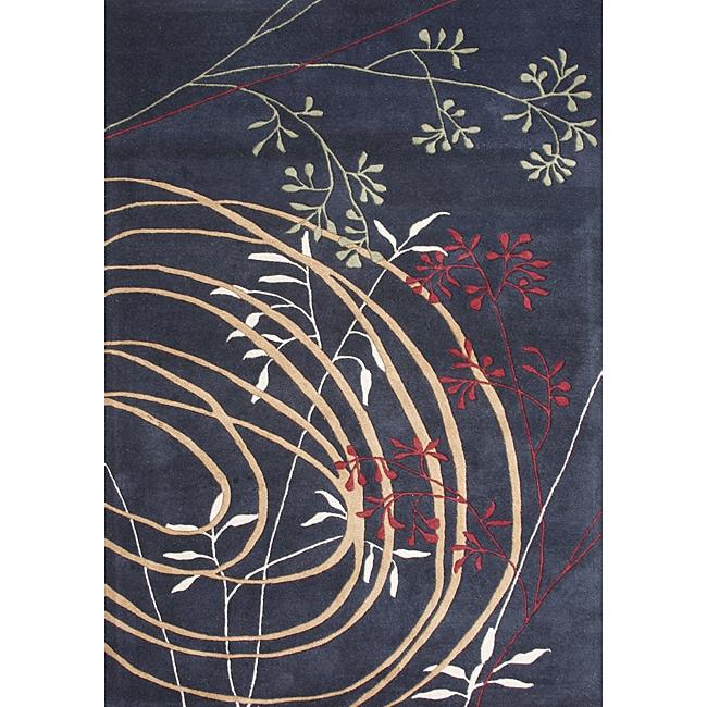 Alliyah HandmadeBlack New Zealand Blend Wool Rug (8' x 10')