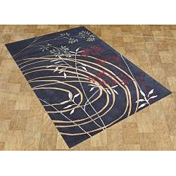 Alliyah HandmadeBlack New Zealand Blend Wool Rug (8' x 10') - Thumbnail 1