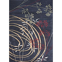 Alliyah HandmadeBlack New Zealand Blend Wool Rug (8' x 10') - Thumbnail 0