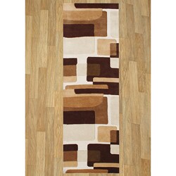 Alliyah Handmade Brown New Zealand Blend Wool Rug - 3' x 10'