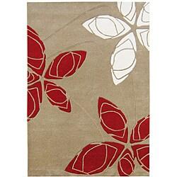 Alliyah Handmade Golden Olive New Zealand Blend Wool Rug (8' x 10')