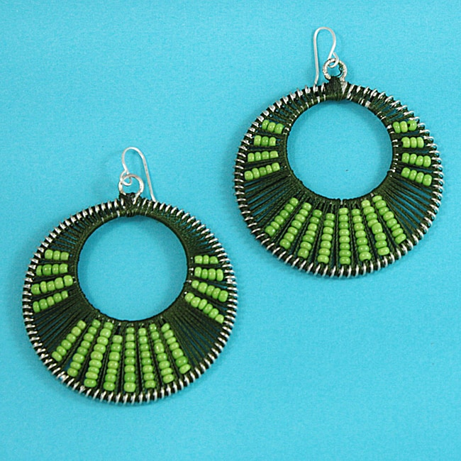 Handmade Green 'Colorful Secrets' Earrings (Thailand)