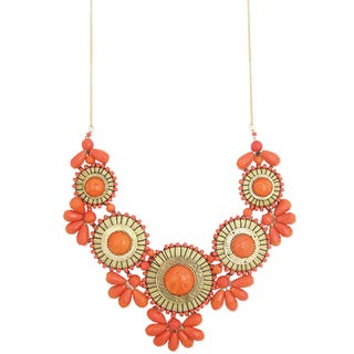 Handcrafted Orange 'Crimson Hues' Bib Necklace (India)