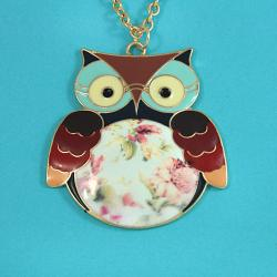 Handmade Goldtone 'Nocturnal Owl' Necklace (Thailand)