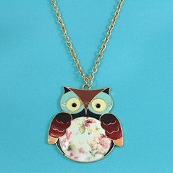 Handmade Goldtone 'Nocturnal Owl' Necklace (Thailand)