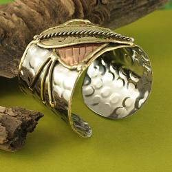 Hand-crafted Three-tone 'Butterfly' Cuff Bracelet (India) - Thumbnail 1