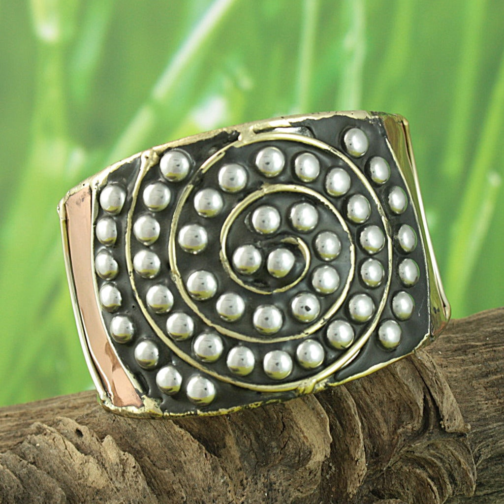 Hand-crafted Three-tone 'Spiral Mystery' Cuff Bracelet (India)
