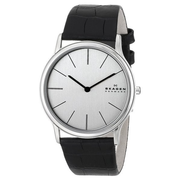 Skagen Men's Black Leather Strap Watch