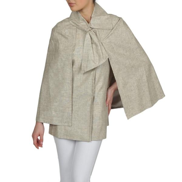 Tahari Women's Linen Blend Bow Collar Cape