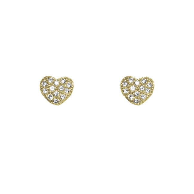 14k Gold over Silver Cubic Zirconia Pave Heart Stud Earrings