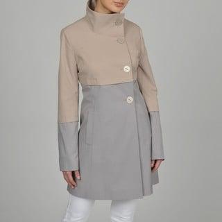 Tahari Women's Color Block Stand Collar Trench Coat