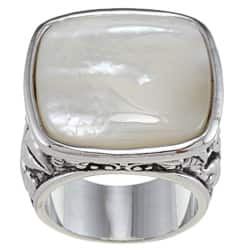 City by City Silvertone White Mother of Pearl Antiqued Square Ring https://ak1.ostkcdn.com/images/products/6657468/City-Style-Silvertone-White-Mother-of-Pearl-Antiqued-Square-Ring-P14217825.jpg?impolicy=medium